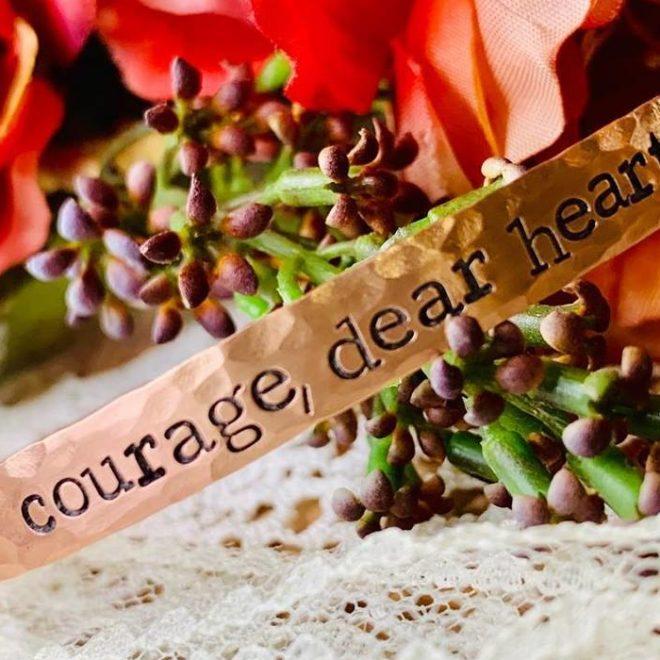 Copper handstamped bracelet with words courage, dear heart