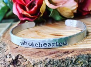 Hand stamped bracelet with word wholehearted
